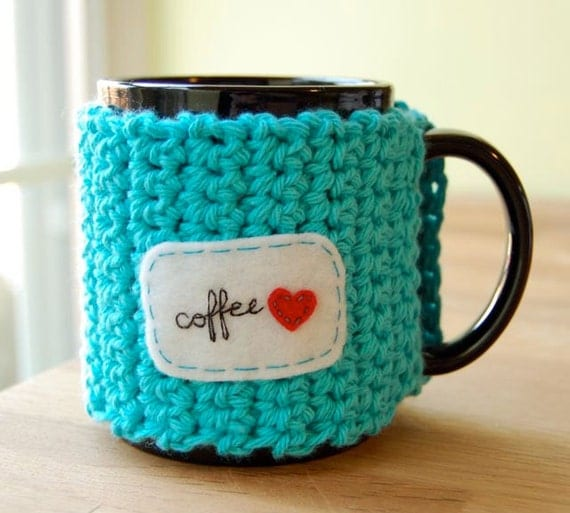 Coffee Love Mug Cozy Crocheted in Hot Blue with Red Heart