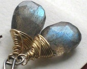 Tempest Earrings - Labradorite Briolettes in 14k Gold fill and Oxidized Silver