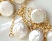 Dots Necklace - Tiny Coin Pearls in 14k Gold Fill