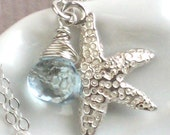 Starfish Necklace Charm with Gemstone Briolette in Sterling Silver, Custom Color, Personalized Jewelry, Beach Necklace, Seashell