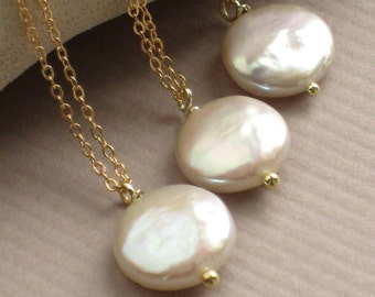 Set of Coin Pearl Necklaces Simple White Coin Pearl drop Classic Pearl Jewelry Bridesmaid gift Bridal Party Necklaces Simple Pearl Drop