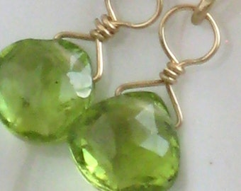 Peridot Earrings • Peridot Briolette Drops • Green Gemstone Earrings • August Birthstone Jewelry • Green Peridot • Bridesmaid Earrings