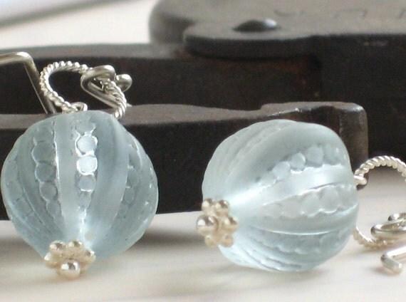 Seaside Earrings - Pale Blue Lucite Beads in Sterling Silver, Light Blue drops, Beach Themed earrings