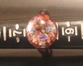 Flameworked borosilicate glass frit ring, size 8