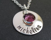 Hand Stamped Personalized Sterling Disc with Birthstone Crystal