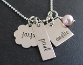 Hand Stamped Necklace for Moms - Personalized Sterling Silver Jewelry - Mixed Charms