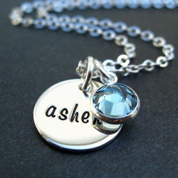 Hand Stamped Jewelry - Personalized Sterling Silver Necklace - Custom Name Jewelry - Disc Charms