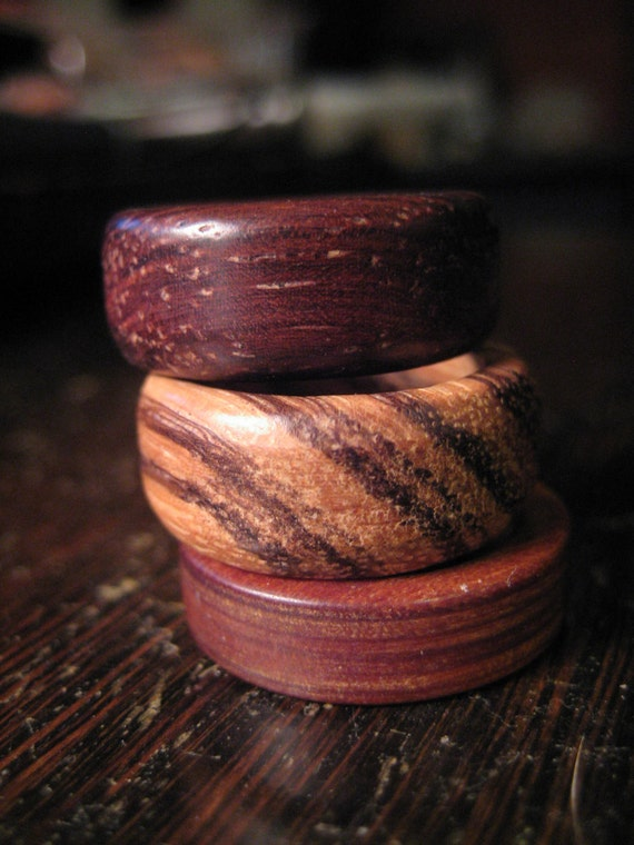 Wood rings  3 stacking bands   size 7