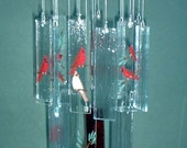 Large Double-Tier Painted Cardinals Glass Windchime