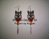 Peyote/Vertical Brick Stitch Gray Wolf Fire Seed Beading Dangle PDF E File  Earring Pattern-233