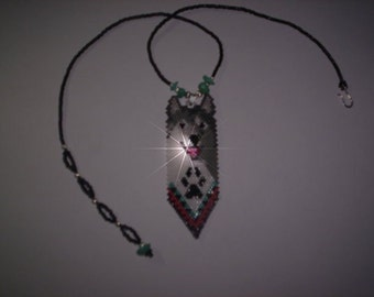Brick Stitch Smiling Gray Wolf Delica Seed Beading Feather PDF E-File Pendant Pattern-166