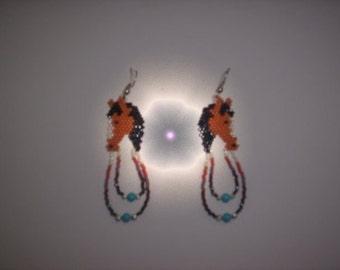 Brick Stitch Horse Delica Seed Beading Dangle PDF E-File Earring Pattern-103