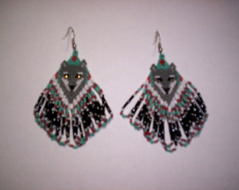 Brick Stitch Gray/White Wolf In Diamond Delica Seed Beading PDF E-File Dangle Earring  Pattern-183