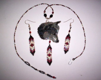 Brick Stitch Gray Wolf  Delica Seed Beading Earring/ Pendant PDF E-File Pattern-35