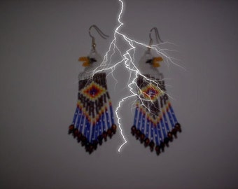 Brick Stitch Bald Eagle Delica Seed Beading Fringe PDF E-File Earring Pattern-69
