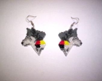 Brick Stitch Gray Wolf Medicine Delica Seed Beading Dangle PDF E-File Earring Pattern-180