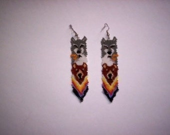Brick Stitch Totem Feather Delica Seed Beading Dangle PDF E-File Earring Pattern-1