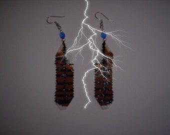 Brick Stitch Red-Tailed Hawk Feather Delica Seed Beading Dangle PDF E-File Earring Pattern-56