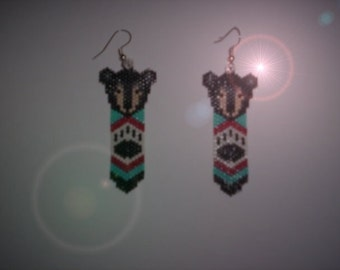 Vertical Brick Stitch Black Bear Cub Feather Delica Seed Beading PDF  E-File Earring Pattern-55