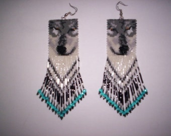 Brick Stitch Gray/Timber Wolf  Delica Seed Beading PDF E- File Earring or Pendant Pattern-23