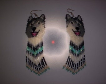 Brick Stitch Laughing/Smiling Wolf Delica Seed Beading Dangle Earring PDF E-File Pattern-135