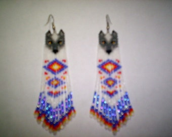 Brick Stitch Wolf Delica Seed Beading Double Diamonds Fringe Earring PDF E-File Pattern-225