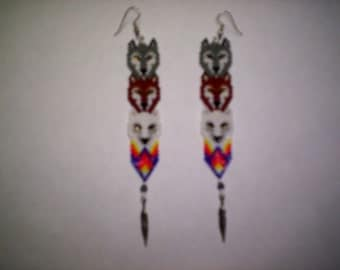 Brick Stitch Wolf Totem Trio Feather Seed Beading Dangle PDF E-File Earring Pattern-240