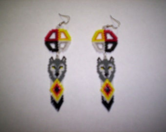 Sculpted Brick Stitch Medicine Wheel / Wolf  Seed Beading Dangle PDF E-File Earring Pattern-247