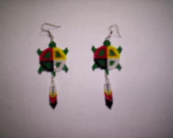 Brick Stitch Medicine Wheel / Turtle  Seed Beading Dangle PDF E-File Earring Pattern-249