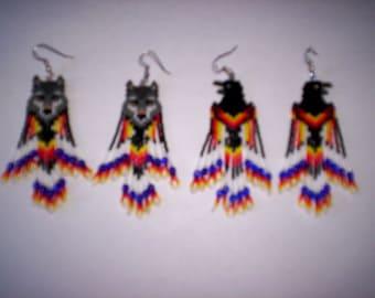 Brick Stitch Wolf / Raven / Crow  Seed Beading  PDF E-File Fringe Earring Pattern-260