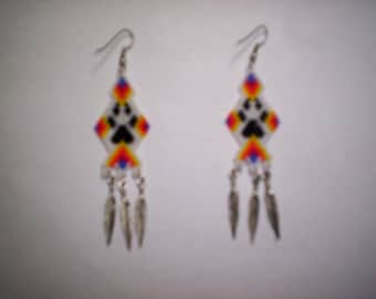 Brick Stitch Wolf Paw Seed Beading PDF E-File Dangle Earring Pattern-257