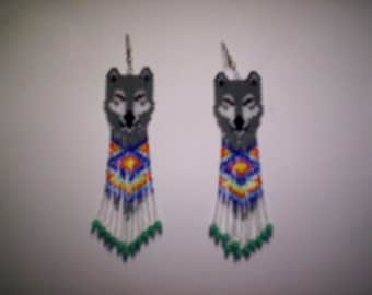 Brick Stitch Timber/Gray/White Wolf Seed Beading PDF E-File Fringe Earring Pattern-248