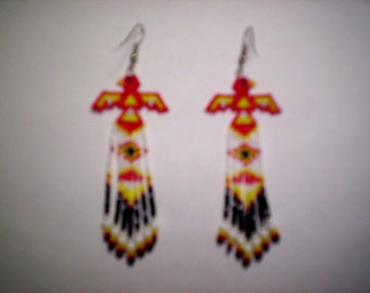 Brick Stitch Sculpted Thunderbird Delica / Seed Beading PDF E-File Earring Patterns-11