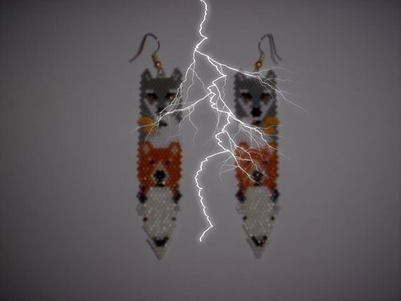 Brick Stitch Wolf/Eagle/Bear/Buffalo Totem Animal Feather Delica Seed Beading PDF E-File Earring Pattern-34