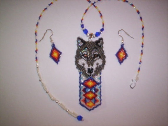 Vertical Brick/Peyote Stitch Wolf Feather Delica Seed Beads Beading PDF E-File Pendant Pattern - 61