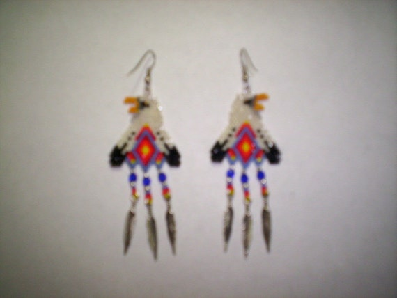 Brick Stitch Bald Eagle With Feathers Seed Beading Dangle PDF E-File Earring Pattern-258