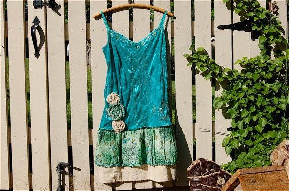 Upcycled Clothing under 25, Forest Wonderland Eco Tank Dress, Tattered, Fairy, Pixie, Boho Gypsy, Silk Velvet, Mori Girl, M - L