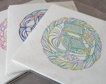 Assortment Chair series, Kiri-e Japanese paper-cut style prints (set of 6 greeting cards)