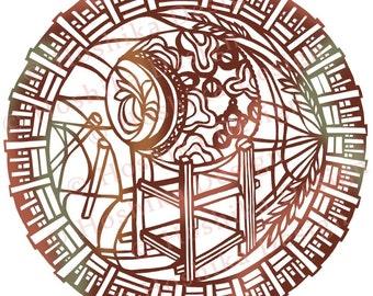 Taiko-Japanese Drum, Kiri-e paper-cut style prints (set of 6 greeting cards)