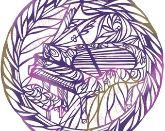 Grand Piano, Kiri-e Japanese paper-cut style prints (set of 6 greeting cards)