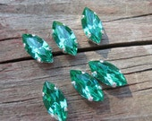 Lot of 6 15x7mm Light Emerald Navette Shaped Swarovski Rhinestones in Sew on Settings