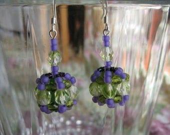 Thinking of Spring Beaded Pierced Wire Earrings by Margaret Ellison