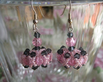 Hugs and Kisses Pink and Indigo Pierced Wire Beaded Earrings by ME