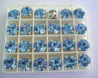 Lot of 4 11mm Light Sapphire Chaton Czech Rhinestones in Sew on Settings