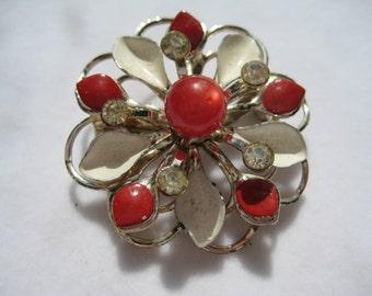 Vintage  50s Flower Pin with Rhinestones Enamel and Moonstone Bead