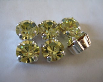 Lot of 6 8mm Jonquil Swarovski Chaton cut rhinestones in Sew On settings