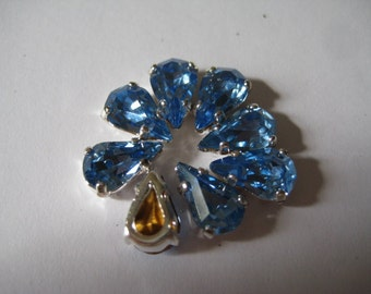 Lot of 8 10x6mm Light Sapphire Pear Shape Swarovski Rhinestone in Silver Plated Sew on Setting