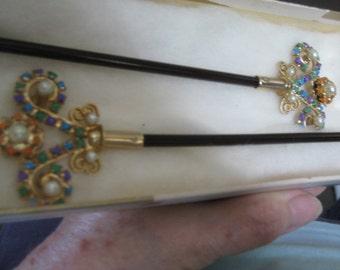 Pearls and Rhinestones Hair Sticks Very Vintage  Hand Painted in the style of Tom Binns