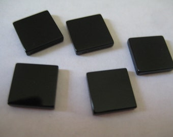 Lot of 6 Vintage 10x10x2mm Jet Square Flat Top and Bottom Cabochons