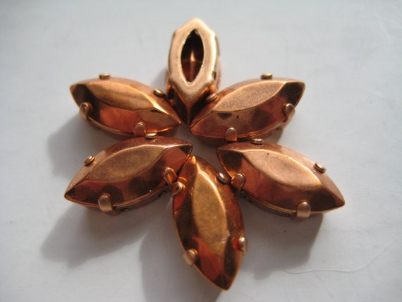 Lot of 6 15x7mm Copper Clad Navette Shaped Swarovski Rhinestones in Brass Copper Colored Sew on Settings